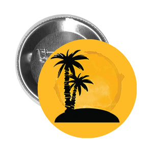 Round Pinback Button Pin Brooch Tropical Island Watercolor Sunset Silhouette - Gold