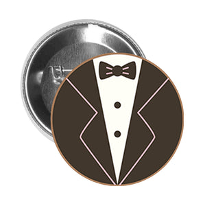 Round Pinback Button Pin Brooch Tuxedo with Pink Trim Icon