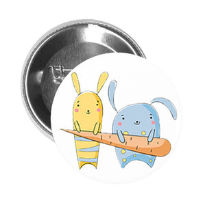 Round Pinback Button Pin Brooch Two Cute Bunny Rabbits with Big Carrot