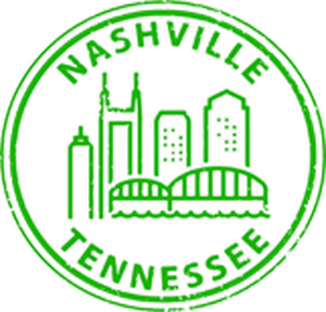 US Cityscapes Stamp Famous Landmarks America Travel Cartoon - Nashville Vinyl Decal Sticker