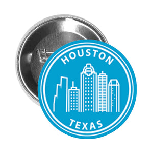 Round Pinback Button Pin Brooch US Cityscapes Solid Famous Landmarks America Travel Cartoon- Houston