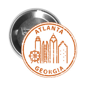 Round Pinback Button Pin Brooch US Cityscapes Stamp Famous Landmarks America Travel Cartoon- Atlanta