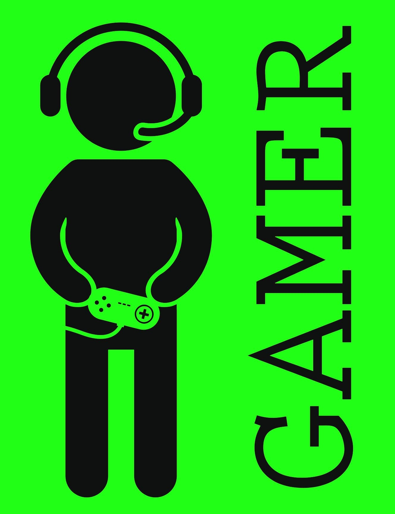 VIDEO GAMES GAMER WITH HEADPHONES AND CONTROLLER GREEN BLACK Vinyl Decal Sticker