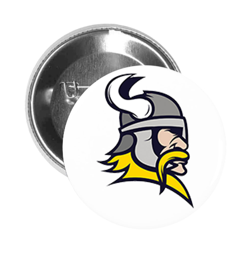 Round Pinback Button Pin Brooch Viking Sports Mascot High School College Team Animal Logo