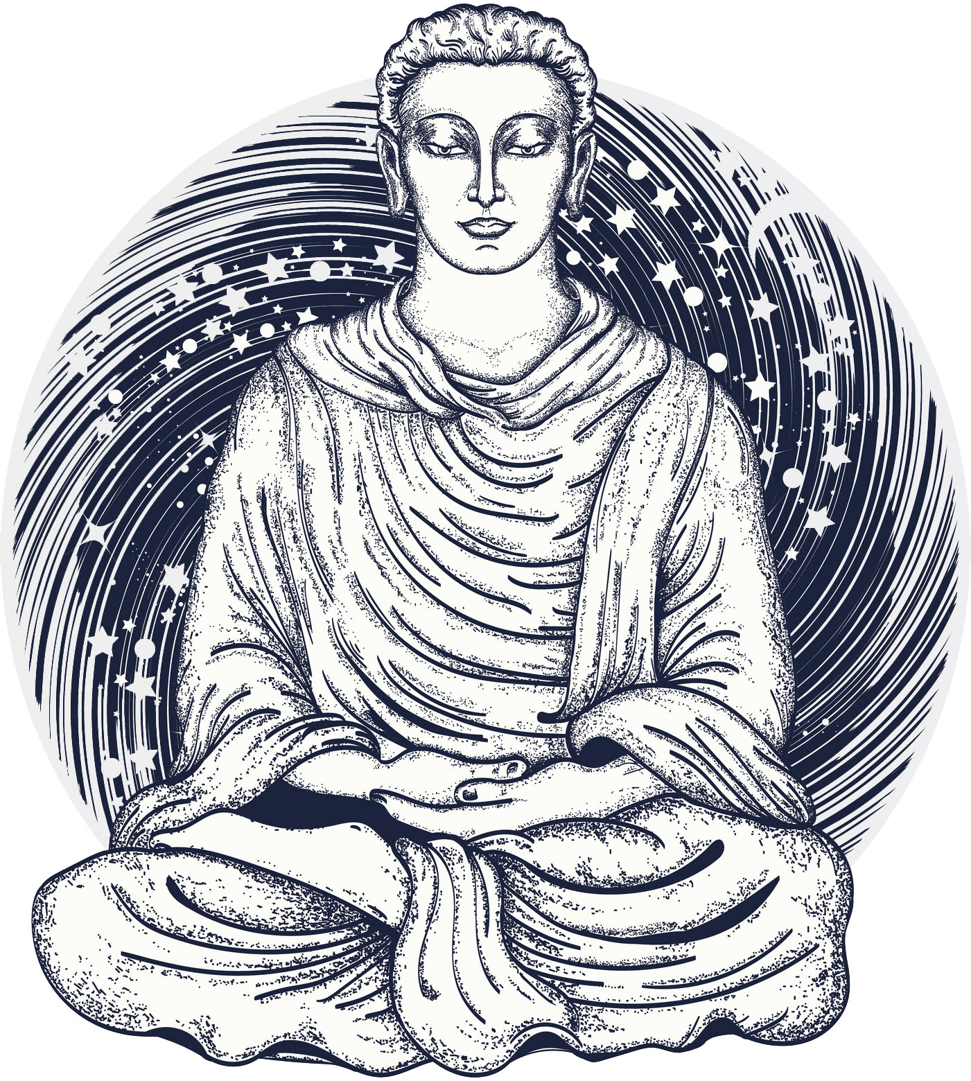 Vintage Asian Thai Buddha Monk Galaxy Dot Art Icon Vinyl Decal Sticker