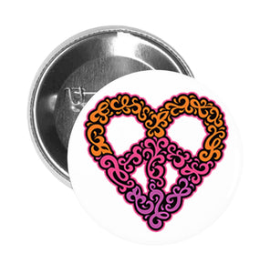 Round Pinback Button Pin Brooch Vintage Pattern Heart Peace Sign Icon Emoji