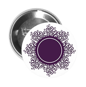 Round Pinback Button Pin Brooch Vintage Pattern Purple Mandala Flower #3