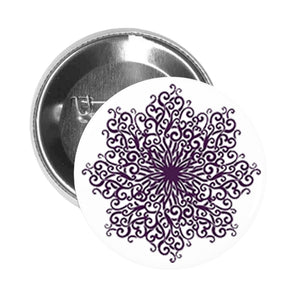 Round Pinback Button Pin Brooch Vintage Pattern Purple Mandala Flower #4