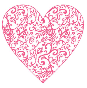 Vintage Pink Floral Pattern Heart 3 Vinyl Decal Sticker
