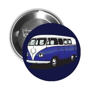 Round Pinback Button Pin Brooch Vintage Retro 70's 4 Wheel Bus Cartoon - Dark Blue - Blue