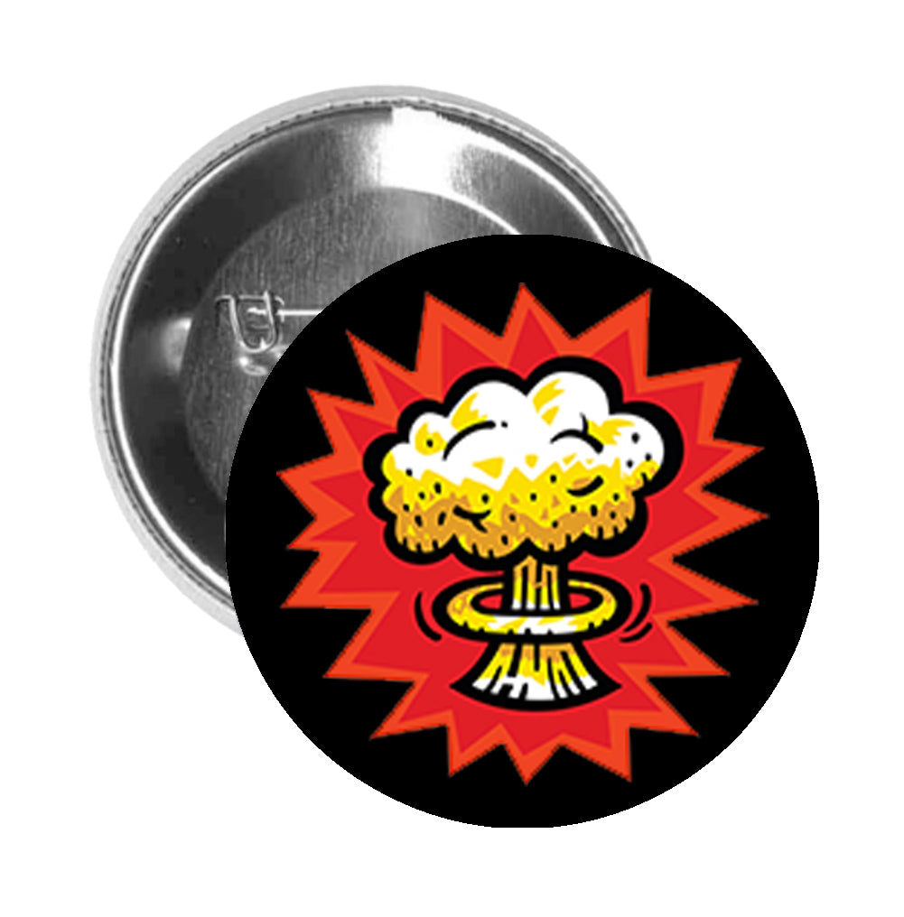Round Pinback Button Pin Brooch Vintage Retro Atomic Bomb Explosion Comic Cartoon - Black