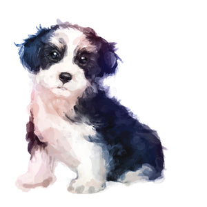 Watercolor Fluffy Black and White Puppy Dog Vinyl Decal Sticker