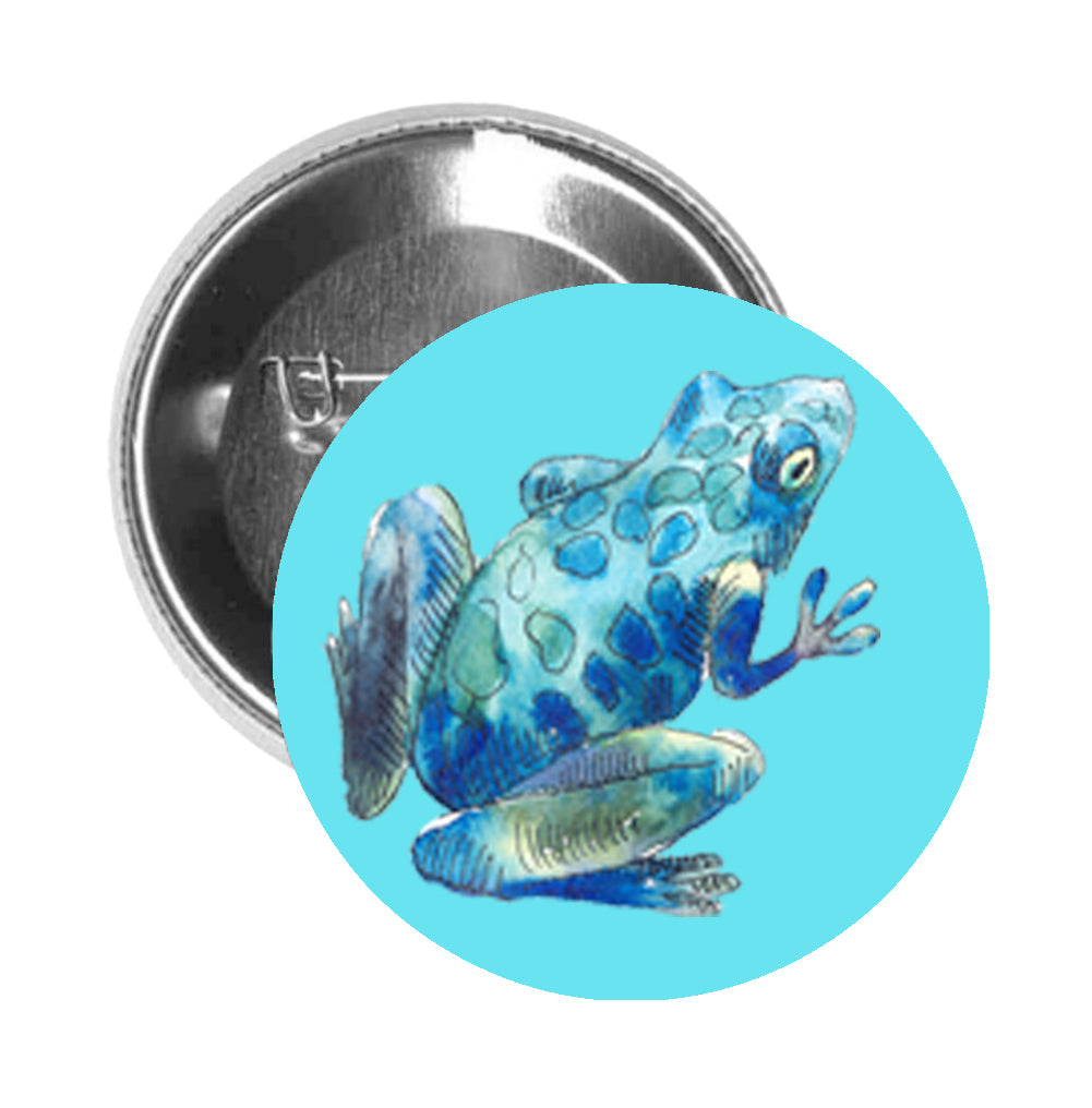 Round Pinback Button Pin Brooch Watercolor Frog Toad Amphibian Tadpole Jumping Swamp Pond Animal- Blue - Light Blue