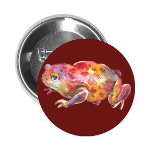 Round Pinback Button Pin Brooch Watercolor Frog Toad Amphibian Tadpole Jumping Swamp Pond Animal- Red - Maroon