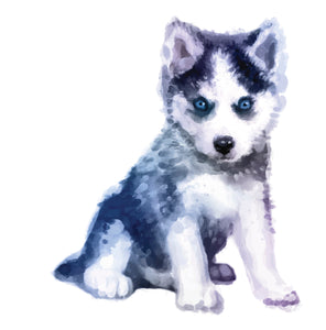 Watercolor Furry Husky Puppy Dog Vinyl Decal Sticker