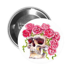 Round Pinback Button Pin Brooch Watercolor Paint Flower Crown Skull - Profile