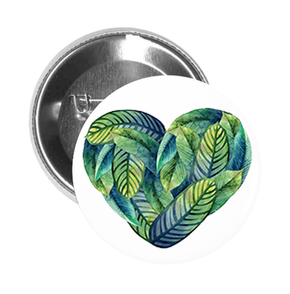 Round Pinback Button Pin Brooch Watercolor Tropical Green Leaf Heart Shape Icon