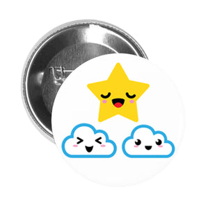 Round Pinback Button Pin Brooch Weather Climate Elements Emoji #12