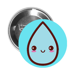 Round Pinback Button Pin Brooch Weather Climate Emoji - Rain Drop - Light Blue