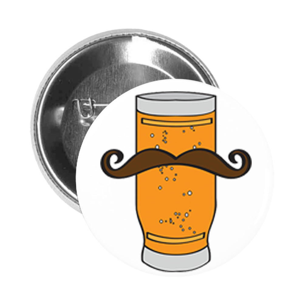 Round Pinback Button Pin Brooch Weizenbier Beer Glass with Handlebar Mustache Manly Brewery Drink Funny Symbol Icon Cartoon