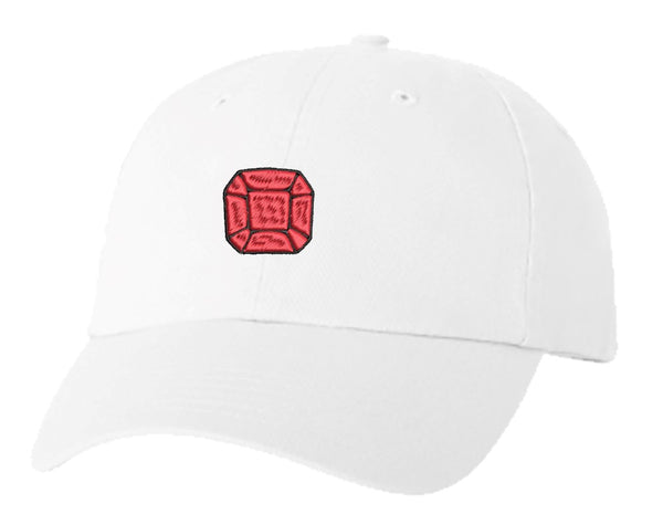 Unisex Adult Washed Dad Hat Square Cushion Beveled Gemstone Birthstone Jewel Cartoon - Ruby Red Embroidery Sketch Design