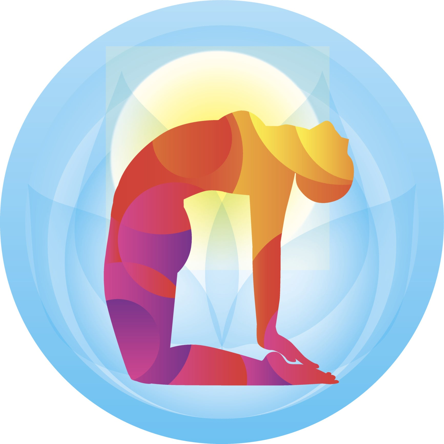 YOGA POSE OF CAMEL ICON HEALTHY STRESS FREE LIGHT BLUE YELLOW ORANGE RED PURPLE PINK WHITE Vinyl Decal Sticker