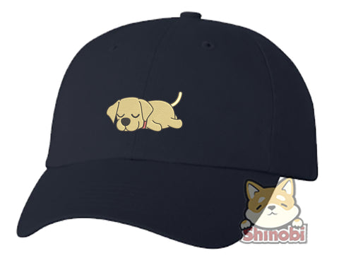 Unisex Adult Washed Dad Hat Cute Sleepy Lazy Labrador Puppy Dog Cartoon - Labrador Embroidery Sketch Design