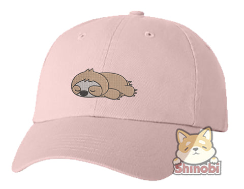Unisex Adult Washed Dad Hat Cute Sleepy Lazy Sloth Cartoon - Sloth Embroidery Sketch Design