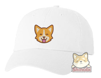 Unisex Adult Washed Dad Hat Cute Corgi Shiba Inu Fox Emoji Embroidery Sketch Design
