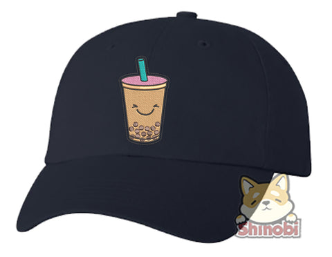 Unisex Adult Washed Dad Hat Cute Paper Cut Out Kawaii Foodie Sweets Cartoon Emoji - Milk Tea Boba Embroidery Sketch Design