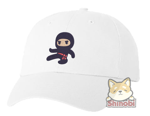 Unisex Adult Washed Dad Hat Adorable Kawaii Japanese Kid Ninja Cartoon Icon #4 Embroidery Sketch Design