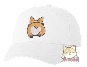 Unisex Adult Washed Dad Hat Cute Adorable Kawaii Happy Corgi Puppy Dog Butt Cartoon Embroidery Sketch Design