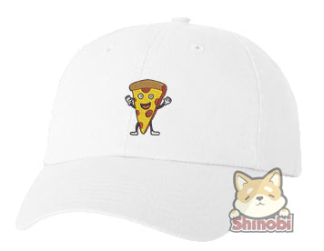 Unisex Adult Washed Dad Hat Happy Fast Food Emoji - Pizza Embroidery Sketch Design