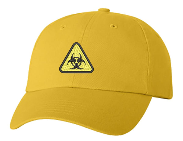 Unisex Adult Washed Dad Hat Simple Yellow Triangle Sign Symbol Icon - Biohazard Embroidery Sketch Design