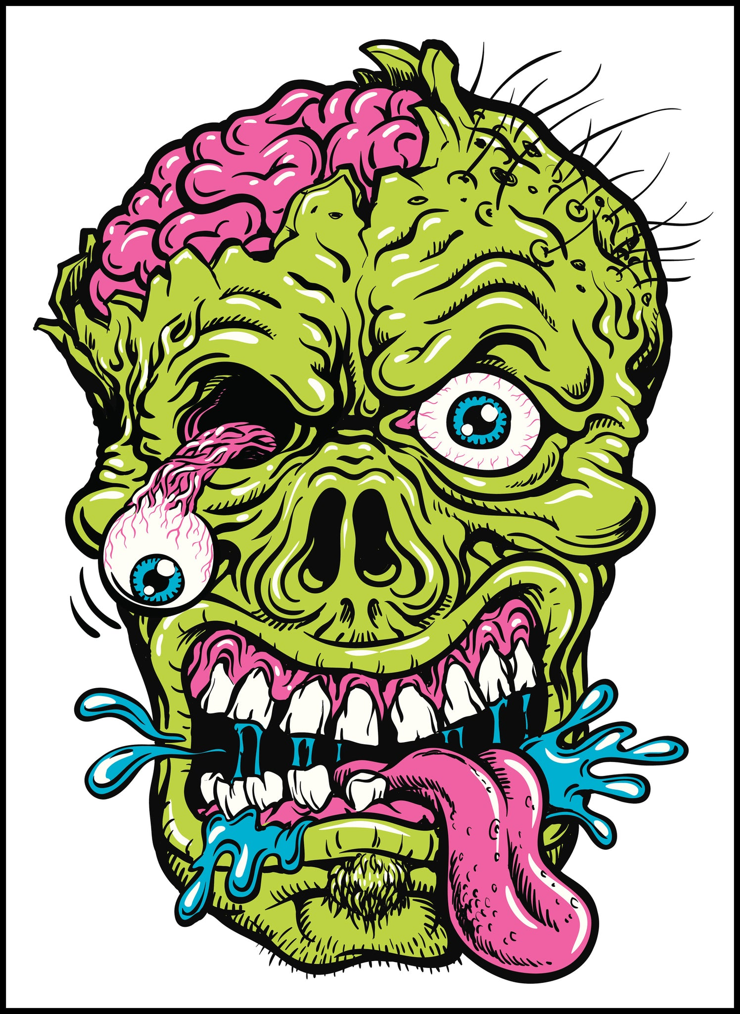 Yucky Scary Green Zombie Brains Out Vinyl Decal Sticker