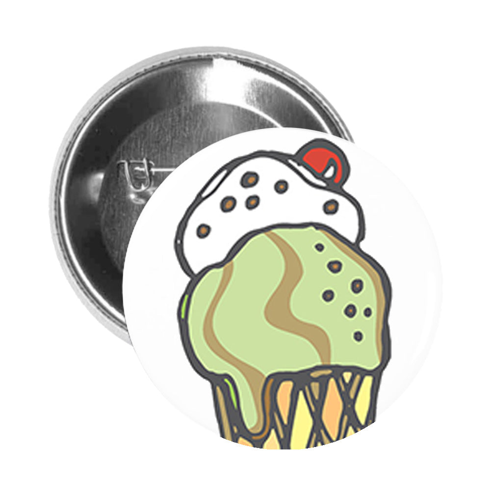 Round Pinback Button Pin Brooch Yummy Delicious Colorful Cute Desserts Cartoon - Vanilla And Pistachio Sundae - Zoom