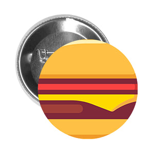 Round Pinback Button Pin Brooch Yummy Delicious Food Meal Cartoon - Cheeseburger - Zoom