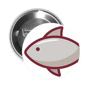 Round Pinback Button Pin Brooch Yummy Delicious Food Profession Item Cartoon - Fish - Zoom