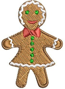 Iron on / Sew On Patch Applique Yummy Holiday Ginger Bread Cookies Woman Embroidered Design