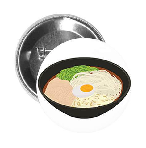 Round Pinback Button Pin Brooch Yummy Ramen Noodle Bowl Chashu Egg Delicious Japanese Comfort Food