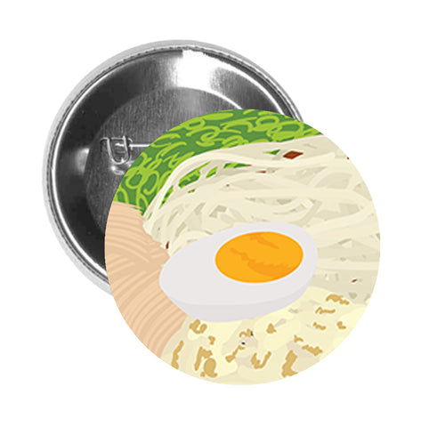 Round Pinback Button Pin Brooch Yummy Ramen Noodle Bowl Chashu Egg Delicious Japanese Comfort Food - Zoom