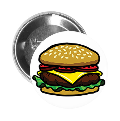 Round Pinback Button Pin Brooch Yummy Sesame Cheese Burger Cartoon