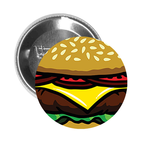 Round Pinback Button Pin Brooch Yummy Sesame Cheese Burger Cartoon - Zoom