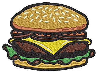 Iron on / Sew On Patch Applique Yummy Sesame Cheese Burger Cartoon Embroidered Design