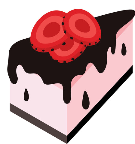 Yummy Pink Cake with Chocolate Frosting and Strawberries Vinyl Decal Sticker