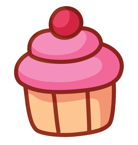 Yummy Pretty Cupcake Cartoon Emoji Icon (3) Vinyl Decal Sticker