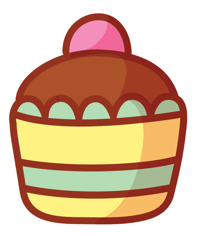 Yummy Pretty Cupcake Cartoon Emoji Icon (4) Vinyl Decal Sticker