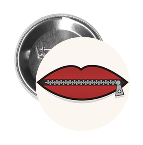Round Pinback Button Pin Brooch ZIPPER ZIP IT LIPS BLACK RED GREY