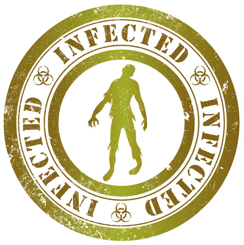 ZOMBIE INFECTED VIRUS RADIATION GREEN WHITE Vinyl Decal Sticker