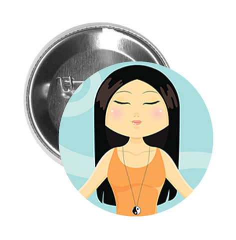 Round Pinback Button Pin Brooch Zen Tranquil Meditate Yoga Pose Cartoon - Zoom